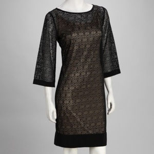 Nina Leonard Black & Tan Dress